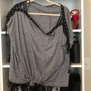 Off the shoulder grey lace up tee